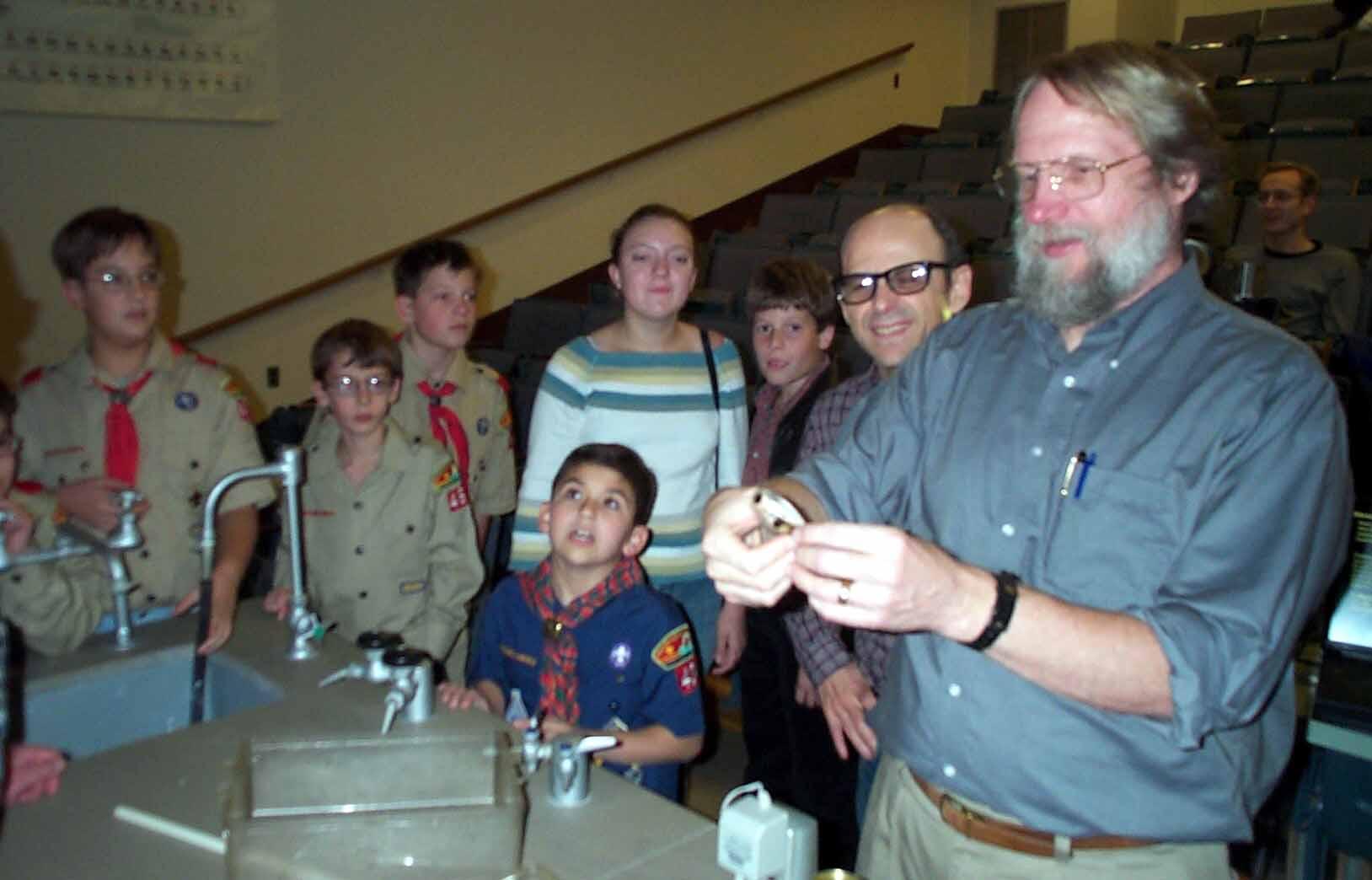 CWRU Biologist Roy Ritzmann with some 2-legged adventurers and a 6 legged friend.